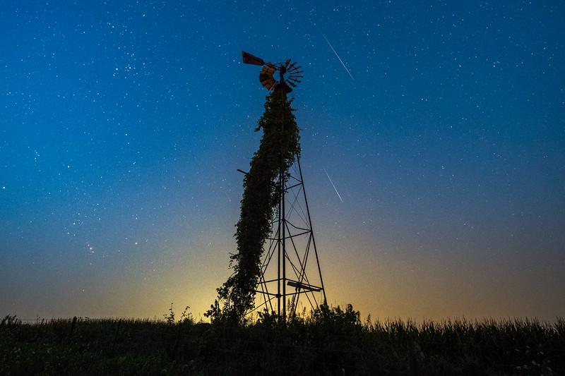 Perseids, Windmill at Dawn