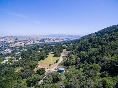 Aerial Scenery. Parking Lot of Augustin Bernal Park. Highway seen is Interstate 680. Augustin Bernal Park - Pleasanton, CA, USA