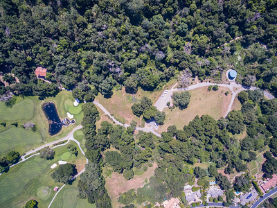 Aerial Scenery. Parking Lot of Augustin Bernal Park & Castlewood Country Club. Augustin Bernal Park - Pleasanton, CA, USA