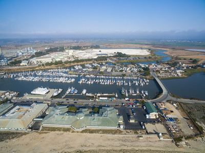 Aerial Scenery. Moss Landing Harbor, SR-1 and Old Salinas River. Moss Landing, CA, USA
