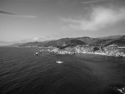Aerial Scenery. Bixby Creek Bridge & SR-1 - Monterey, CA, USA