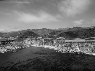 Aerial Scenery. Bixby Creek Bridge & SR-1 - Monterey, CA, USA