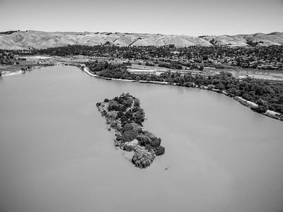 Aerial Scenery. Duck Island. Lake Elizabeth/Fremont Central Park - Fremont, CA, USA