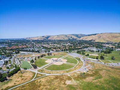 Aerial Scenery. Sport Fields. Lake Elizabeth/Fremont Central Park - Fremont, CA, USA
