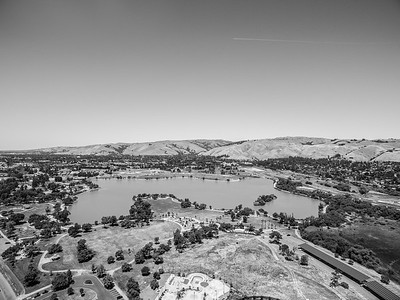 Aerial Scenery. At the bottom center is Fremont Skate Park. Lake Elizabeth/Fremont Central Park - Fremont, CA, USA