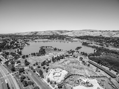 Aerial Scenery. At the bottom is Aqua Adventure Fremont Water Park (Right) & Fremont Skate Park (Center). Lake Elizabeth/Fremont Central Park - Fremont, CA, USA
