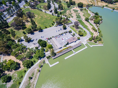 Aerial Scenery. Boat Launch. Lake Elizabeth/Fremont Central Park - Fremont, CA, USA