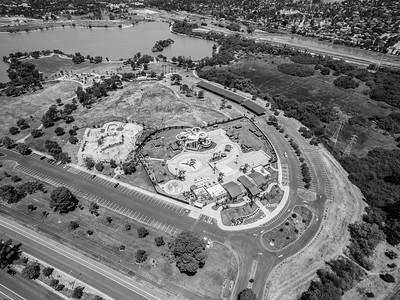 Aerial Scenery. Aqua Adventure Fremont Water Park (Right) & Fremont Skate Park (Left). Lake Elizabeth/Fremont Central Park - Fremont, CA, USA