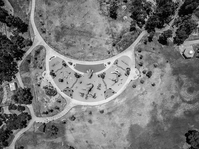 Aerial Scenery. Playground. Fremont Central Park - Fremont, CA, USA  Before anyone calls me irresponsible flying my UAV over a children's playground, I did make sure there weren't a lot of people on the playground and I did my best to keep my flight time above the playground as short as possible. Please note it was very hot outside that day at 90°F. Also, it was little bit past noon on a Tuesday which is before most children got out of school. If it was a weekend or late afternoon, I would not have done this.