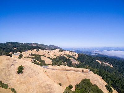 Aerial Scenery. In the distance on the right is the Richmond - San Rafael Bridge. Mt. Tamalpais State Park - Marin County, CA, USA