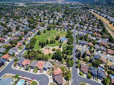 Aerial Scenery. Del Prado Park. Also in this photo is Arroyo de la Laguana & Interstate 680 (Top Right). Pleasanton, CA, USA