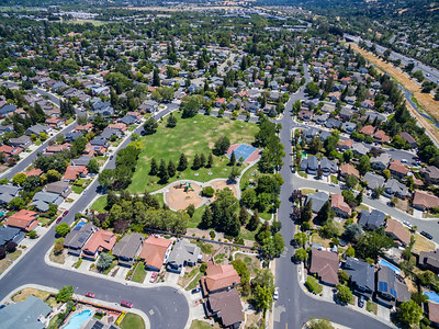 Aerial Scenery. Del Prado Park. Also in this photo is Arroyo de la Laguana & Interstate 680 (Top Right). Pleasanton, CA, USA
