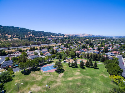 Aerial Scenery. Del Prado Park & Interstate 680.   Also in the photo in the distance in the middle is Foothill High School. Pleasanton, CA, USA