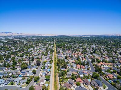 Aerial Scenery. Pleasanton Canal. Pleasanton, CA, USA