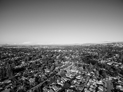 Aerial Scenery. In the distance on the left is Shadow Cliffs Regional Park. Pleasanton, CA, USA