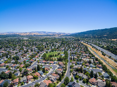 Aerial Scenery. Del Prado Park. Also in this photo is Arroyo de la Laguana (Right), Interstate 680 (Right), Meadowlark Park (Middle right slightly obscured by trees). Pleasanton, CA, USA