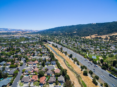 Aerial Scenery. Arroyo de la Laguana & Interstate 680. Also in the photo is Meadowlark Park (Right). Pleasanton, CA, USA