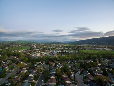 Sunset Aerial Scenery. Hansen Park - Pleasanton, CA, USA