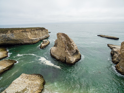 Aerial Scenery. Shark Fin Cove - Davenport, CA, USA  The beach is also known as Shark Tooth Cove, Shark Tooth Beach, Shark Fin Beach, and Davenport Cove.