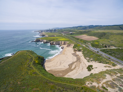 Aerial Scenery. Bonny Doon Beach, Davenport/Santa Cruz Coastline. Also in the photo is SR-1 (right), and Davenport, CA (in the distance). Santa Cruz, CA, USA