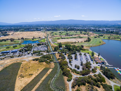 Aerial Scenery. Mountain View Slough (center), Shoreline Lake (right), and Shoreline Golf Links (in the distance). Shoreline Park - Mountain View, CA, USA