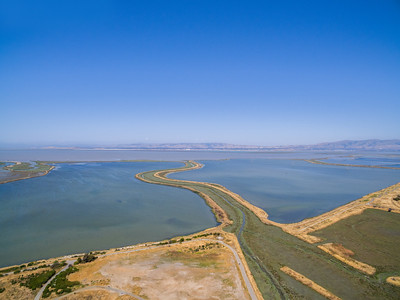 Aerial Scenery. Mountain View Slough (center) & Shoreline Slough. Shoreline Park - Mountain View, CA, USA