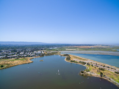 Aerial Scenery. Shoreline Lake. In the distance in the middle is Casey Forebay & Egret Pond. On the right in the distance is Shoreline Slough & Charleston Slough. Shoreline Park - Mountain View, CA, USA