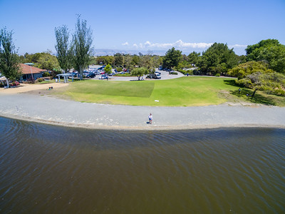 Aerial Selfie. Shoreline Lake & Shoreline Park - Mountain View, CA, USA
