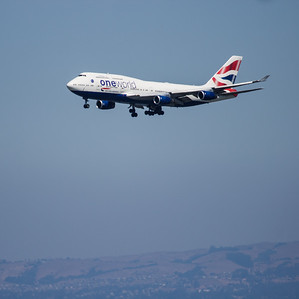 British Airways 747 in One World Livery Landing at SFO