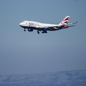 British Airways 747 in One World Livery Landing at SFO