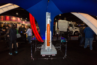 Model of the Orion SLS (Space Launch System). NASA Booth. Consumer Electronics Show (CES) 2018 - Las Vegas, NV, USA  Specifications according to NASA's pamphlet: 322 ft tall, weighs 5.75 million pounds, 8.8 million pounds of thrust, and max speed of 22,600 mph.