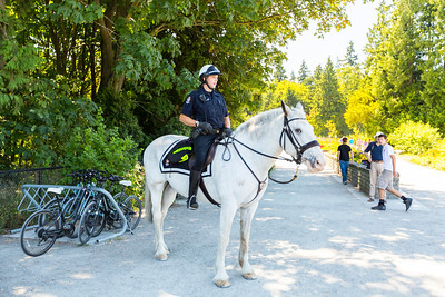 Police on a Horse. Prospect Point. Stanley Park - Vancouver, BC, Canada