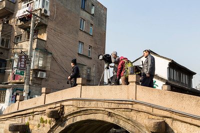 Recording for a travel TV show. Ping Jiang Road (平江路) - Suzhou, Jiangsu, China (苏州,江苏,中国)