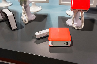 Portable power bank with built-in car charger. Consumer Electronics Show (CES) 2015 - Las Vegas, NV, USA