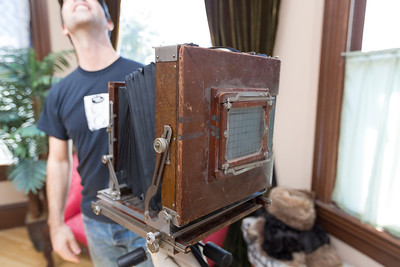 Eric Merten's DagLab. Tintype and Daguerreotype Demonstration. Field trip for photography history class.