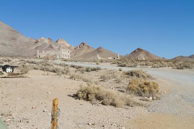 School (Left), Cook Bank Building (Middle), Rhyolite Ghost Casino (Right). Rhyolite Ghost Town - Rhyolite, NV