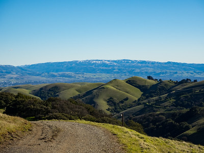 Rare SF Bay Area Snow. Livermore. Whipsnake Loop Trail. Los Vaqueros Watershed - Contra Costa County, CA, USA