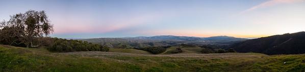 Panorama. Sunset. Olive Grove Trail, Sunol, and Interstate 680. Near Olive Grove Trail. Pleasanton Ridge Regional Park - Sunol, CA, USA