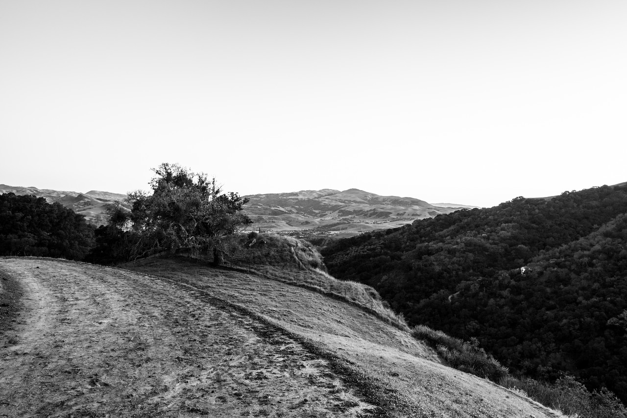Sunset. Sunol (in the distance). Thermalito Trail - Pleasanton Ridge Regional Park - Sunol, CA, USA