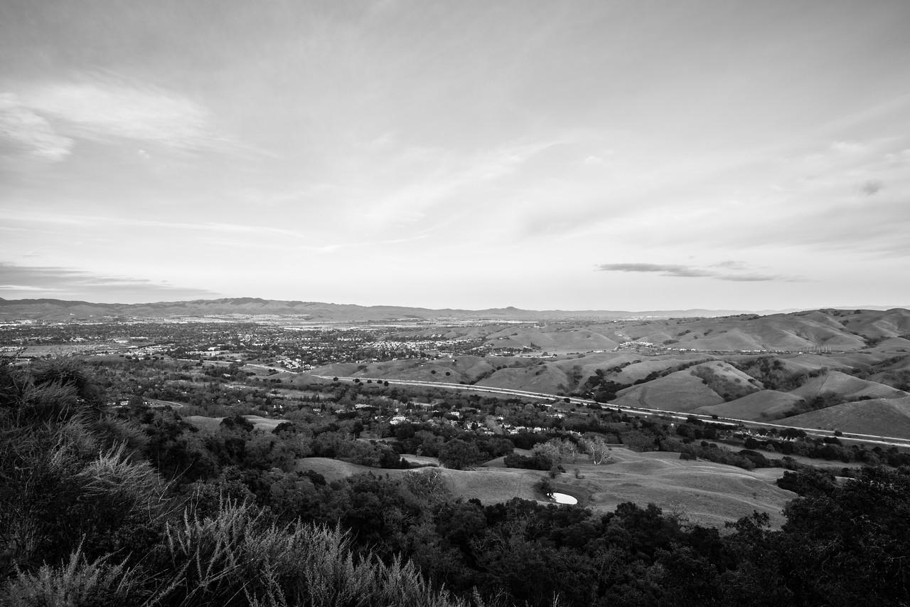 Interstate 680 (foreground), Pleasanton & Dublin (in the distance). Ridgeline Trail - Pleasanton Ridge Regional Park - Sunol, CA, USA