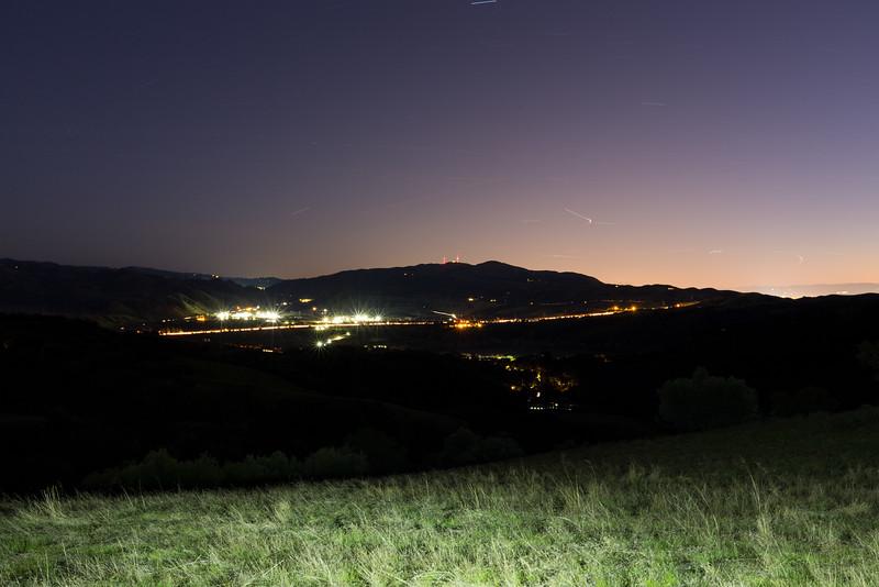Dusk. Connection Point of Interstate 680 & State Route 84. Ridgeline Trail - Pleasanton Ridge Regional Park - Sunol, CA, USA
