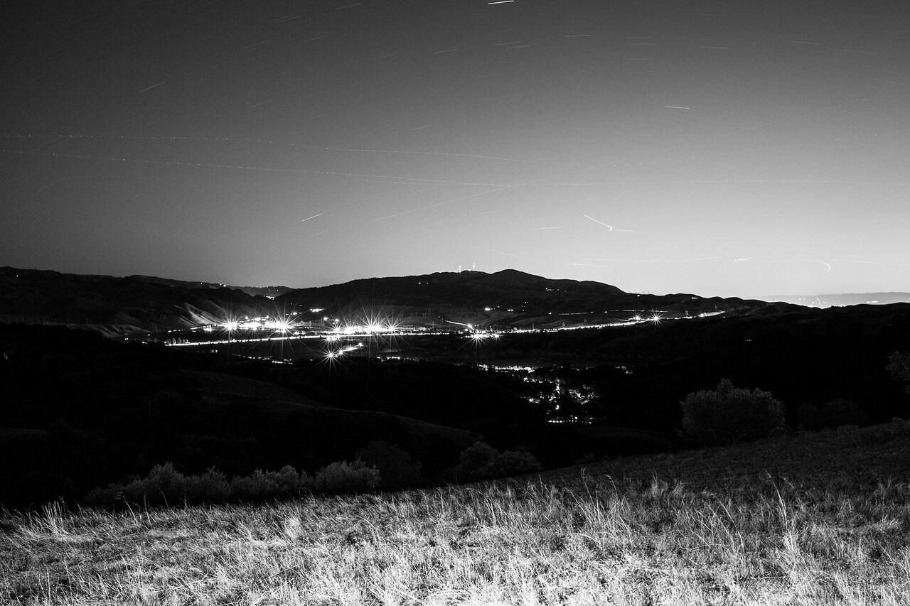 Dusk. Connection Point of Interstate 680 & State Route 84. Ridgeline Trail - Pleasanton Ridge Regional Park - Sunol, CA, USA