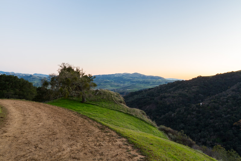 Sunset. Sunol (in the distance). Thermalito Trail - Pleasanton Ridge Regional Park - Sunol, CA, USA