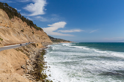 Waddell Beach (in the distance). Highway 1 - Davenport, CA, USA