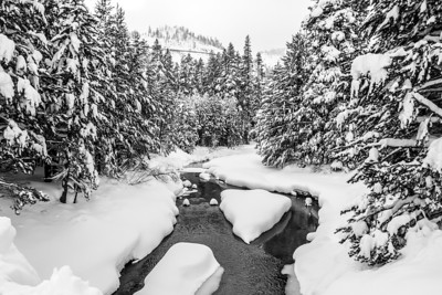 Donner Creek. Abandoned Historical Central Pacific Railroad Tunnels on the mountain. Truckee, CA, USA