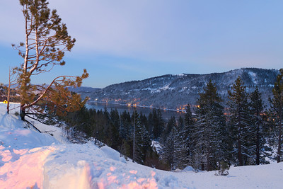 Donner Lake from Vista Point on Highway. Truckee, CA, USA