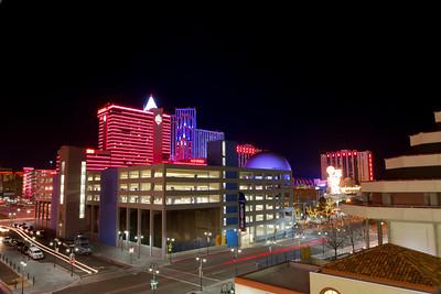 Reno at night from Harrah's Hotel. Reno, NV, USA