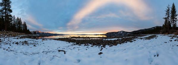 Panorama. Sunset. Crystal Bay in Lake Tahoe. Incline Village, NV, USA