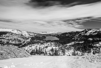 Donner Lake. Abandoned Historical Central Pacific Railroad Tunnels in on side of mountain on the right. Donner Summit Bridge Vista Point on side of Donner Pass Road - Truckee, CA, USA