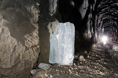 Fallen Icicle. Historical Central Pacific Railroad Tunnel #6 (Summit Tunnel). Truckee, CA, USA